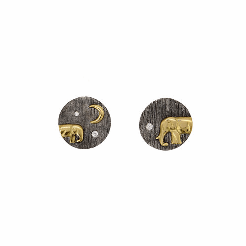 Mother and Baby Elephant Studs - Silver