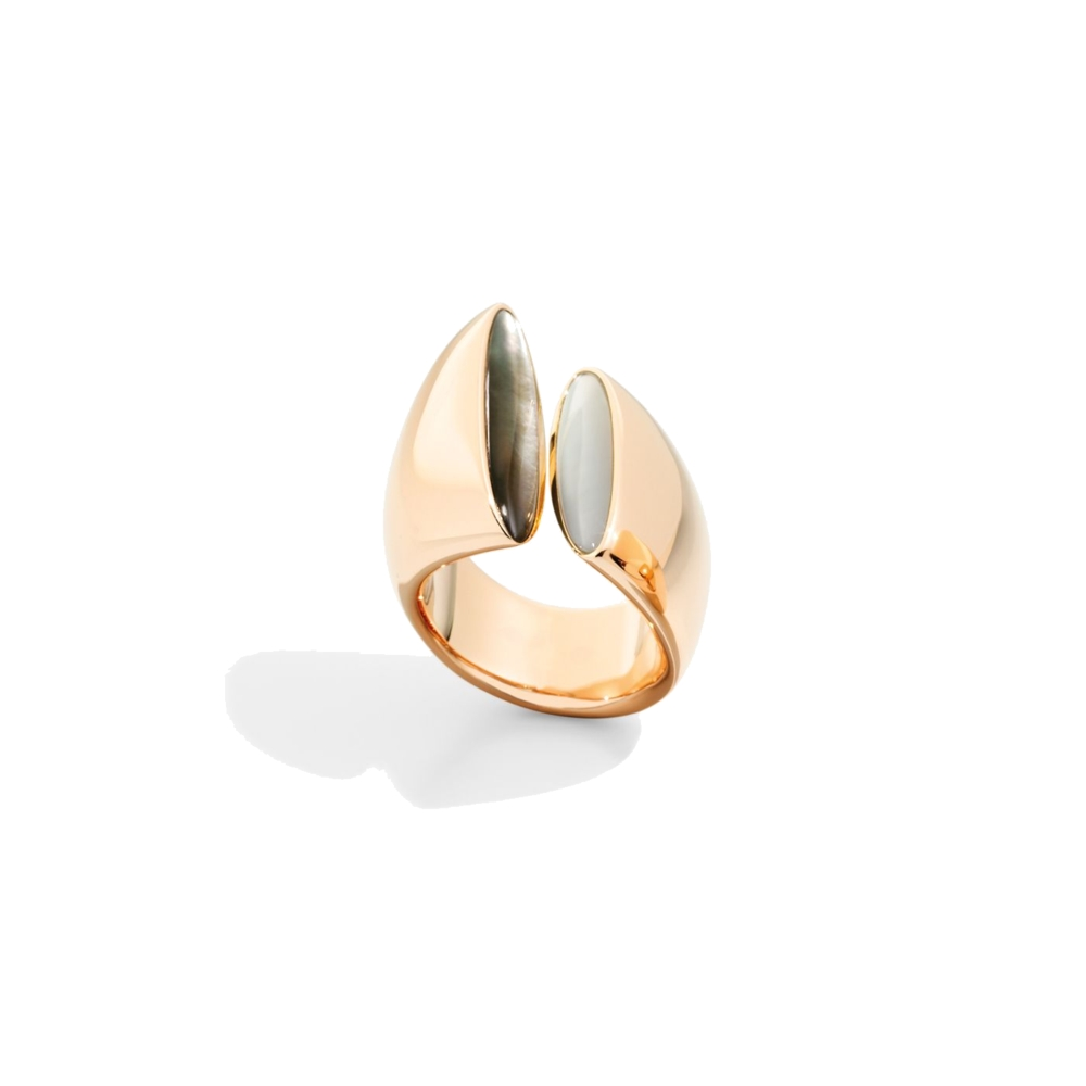 Ring Rose Gold- white and grey mother of pearl