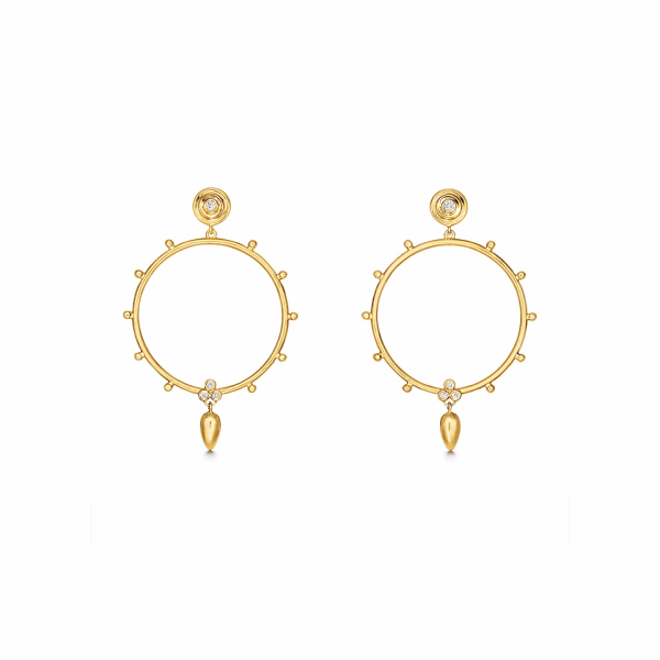 Closeup photo of 18K Circle Anfora Earrings
