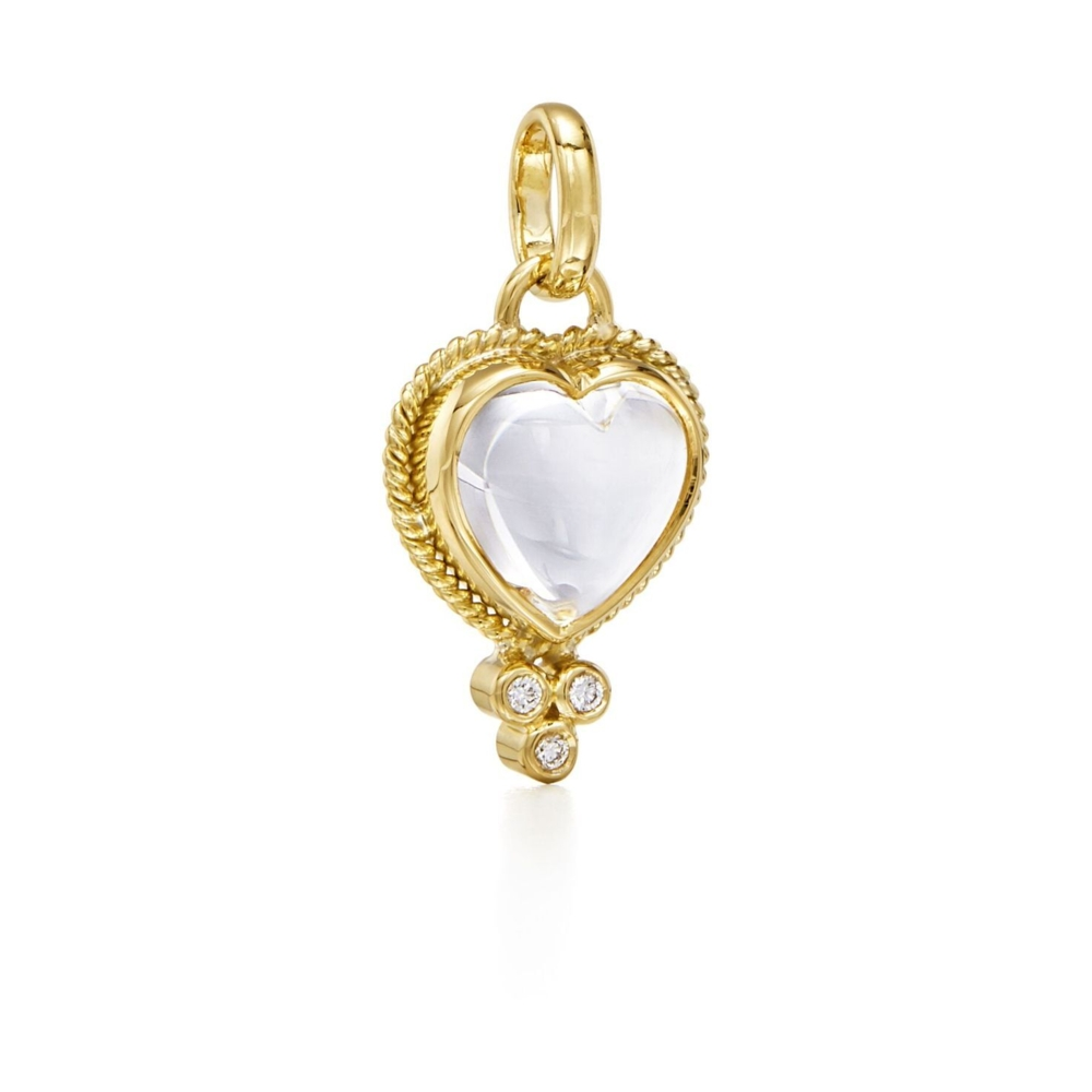 Image 2 for Gold Braided Natural Rock Crystal Heart Pendant