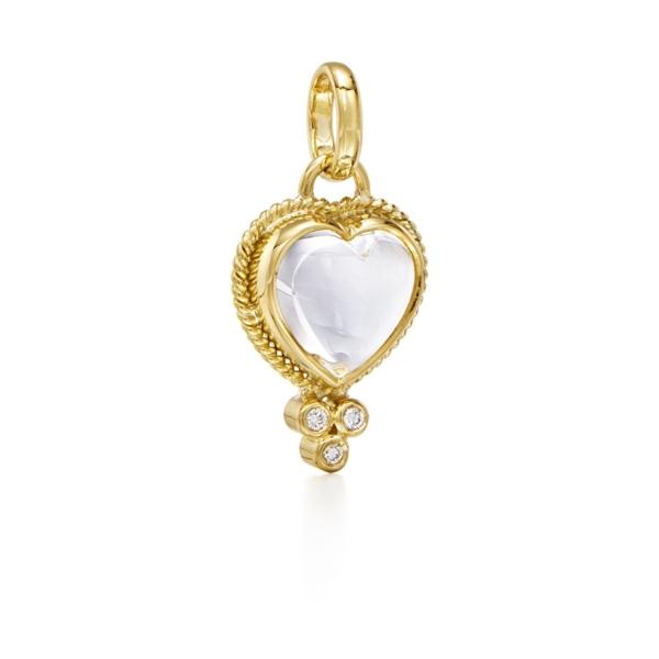 Closeup photo of Gold Braided Natural Rock Crystal Heart Pendant