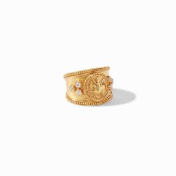 Closeup photo of Coin Crest Ring