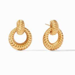 Closeup photo of Olympia Doorknocker Earring