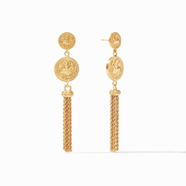 Closeup photo of Coin Tassel Earring