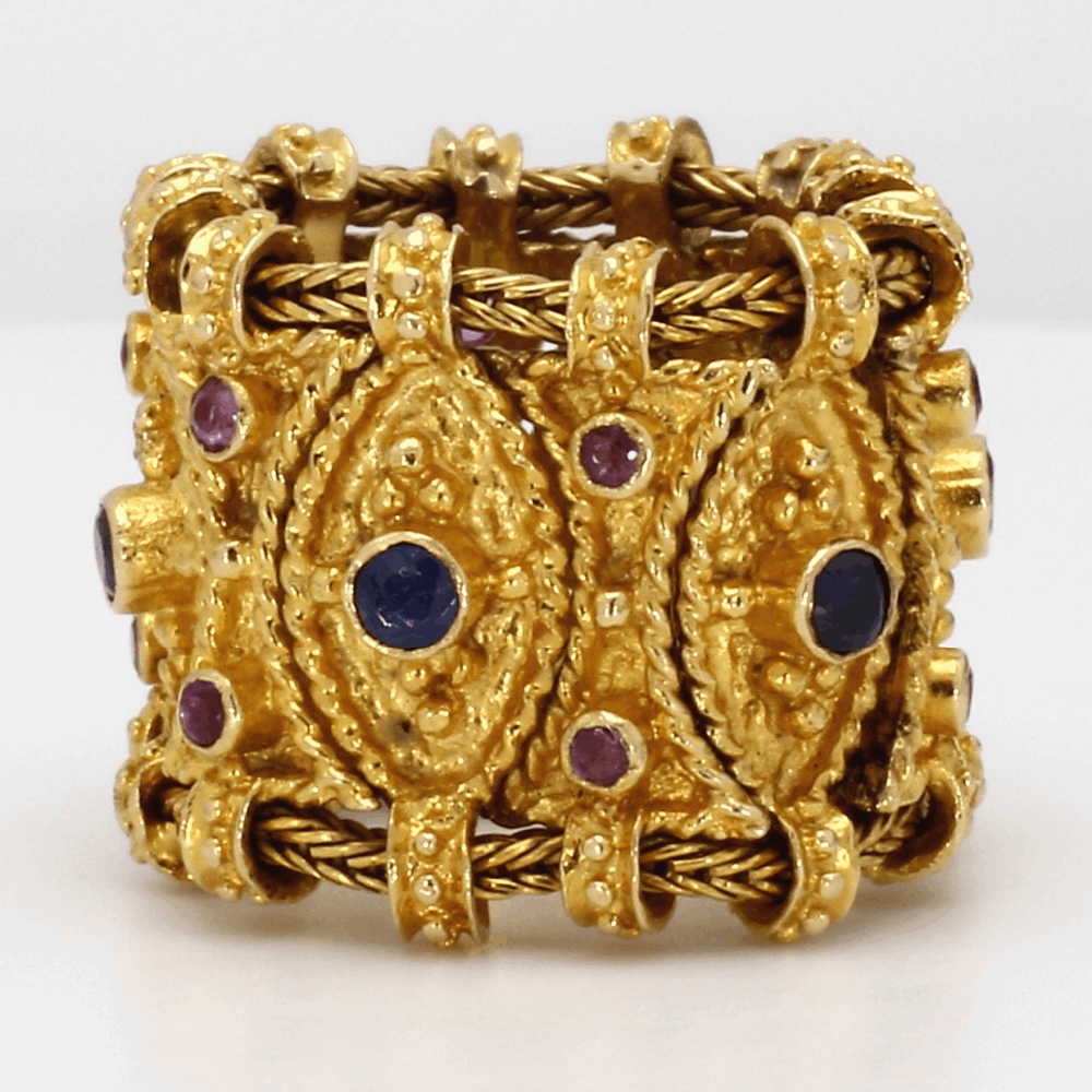 Etruscan Style Ruby & Sapphire Ring