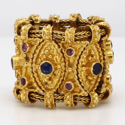 Closeup photo of Etruscan Style Ruby & Sapphire Ring