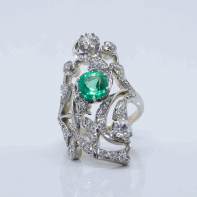 Closeup photo of 1.28ct Cushion Emerald Ring with Diamond