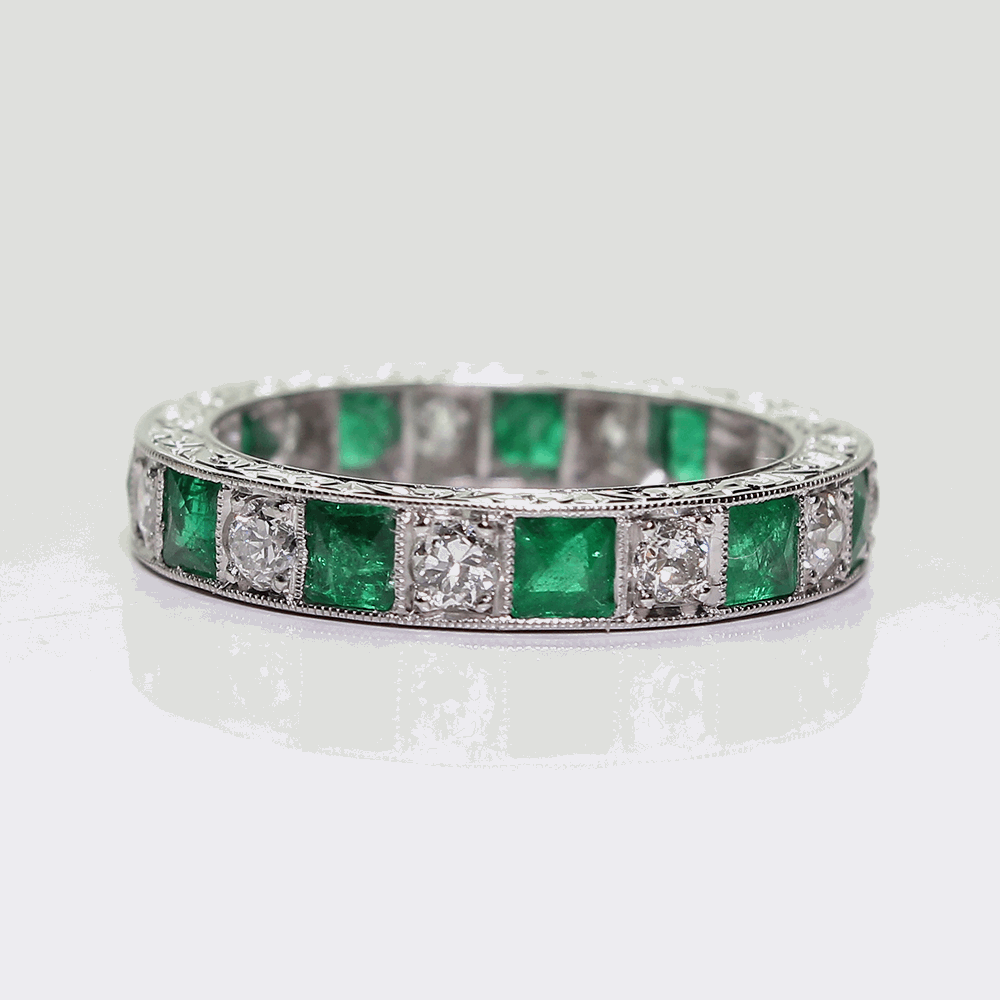 Emerald & Diamond Eternity Band