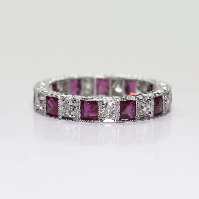 Closeup photo of Ruby and Diamond Eternity Band