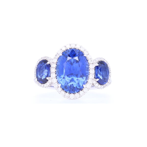 Closeup photo of 3 Stone Sapphire and Diamond Ring