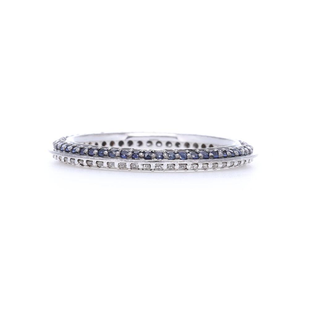 18k White Gold Blue Sapphire and White Diamond Knife Edge Stack Ring