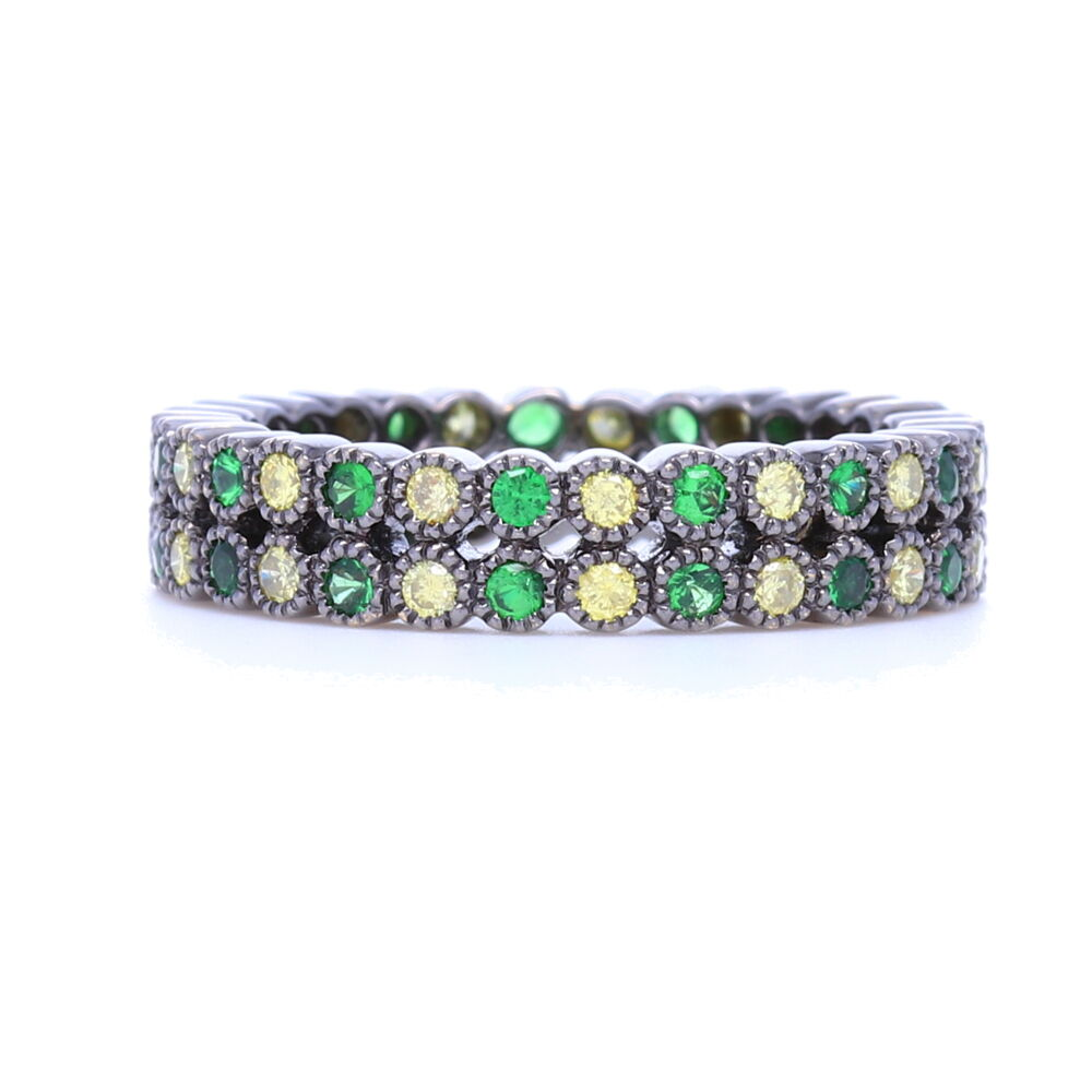 Double Row Tsavorite and Round Diamond Bezel Set Stack Ring in 18K Gold with Black Rhodium