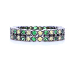 Closeup photo of Double Row Tsavorite and Round Diamond Bezel Set Stack Ring in 18K Gold with Black Rhodium
