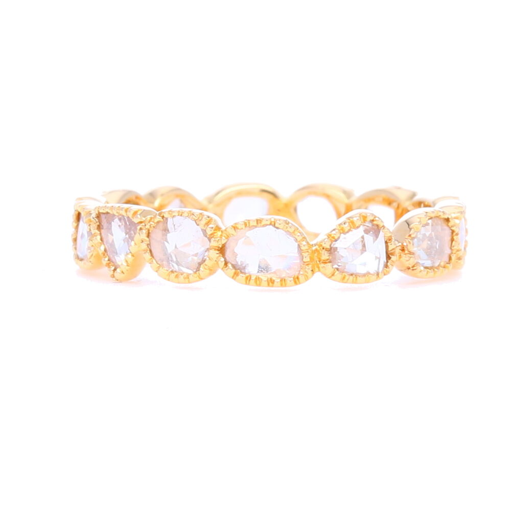 """Maya"" Rough Cut Bezel Set Diamond Stack Ring"