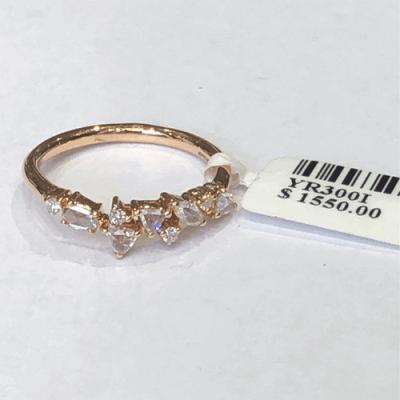 Rose cut diamond ring in 18K RG