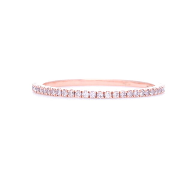 Closeup photo of 18k Rose Gold Pink Diamond Ring