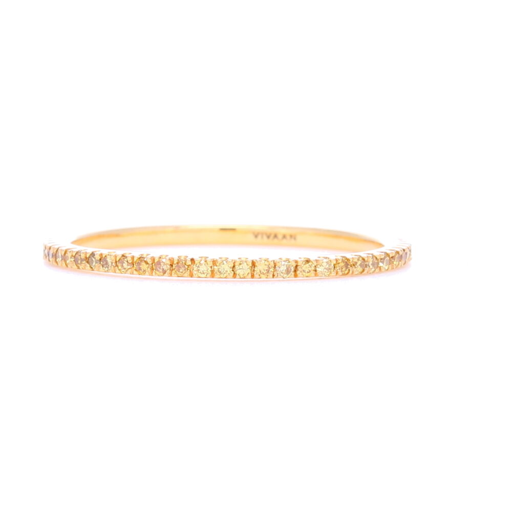 Yellow Diamond Micro 18k Yellow Gold Stack Ring