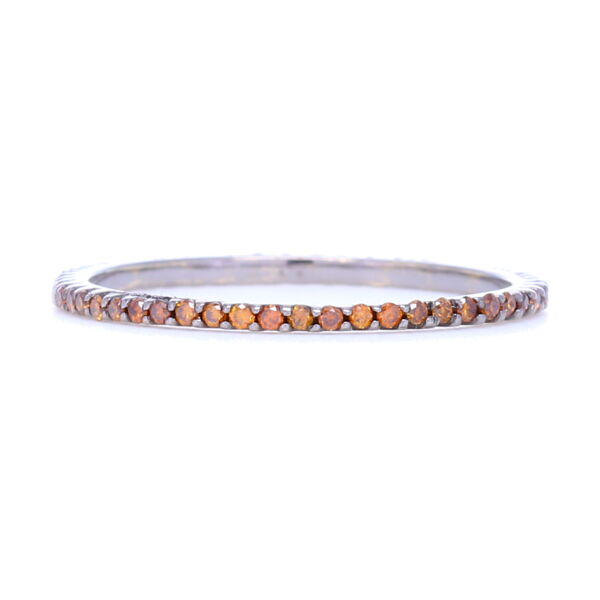 Closeup photo of Burnt Orange Diamond Micro Stack Band in 18k Gold with Black Rhodium