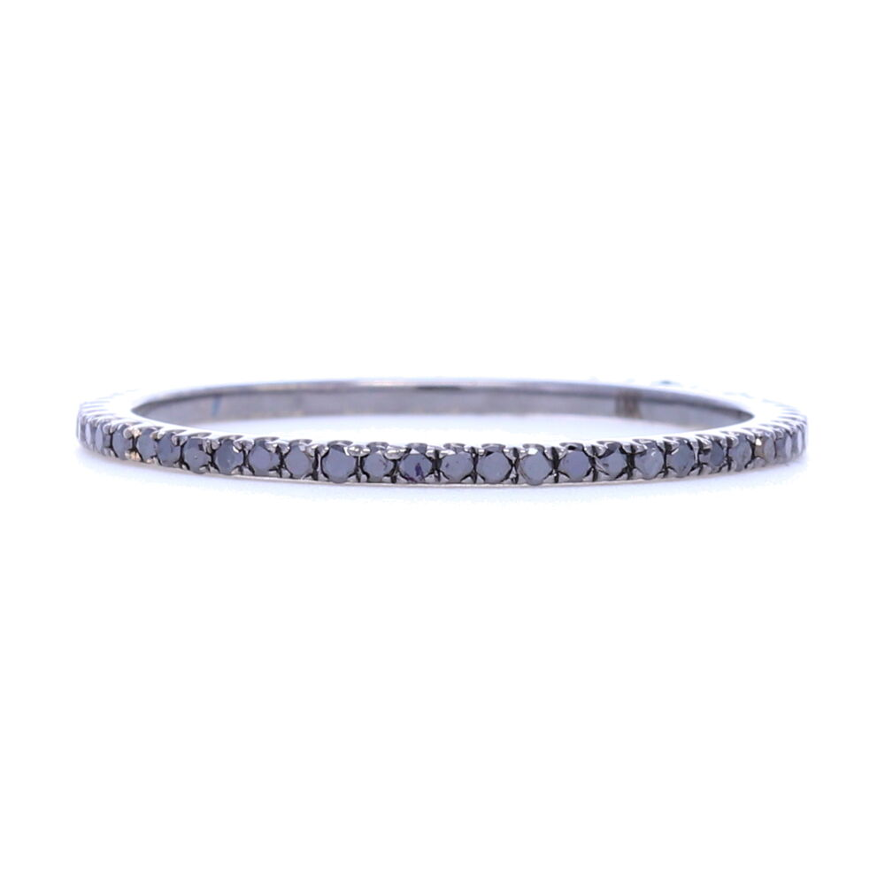 Black Diamond Black Rhodium over 18k Gold Micro Diamond Eternity Stack Ring