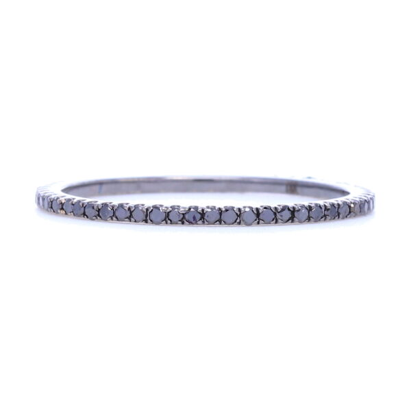 Closeup photo of Black Diamond Black Rhodium over 18k Gold Micro Diamond Eternity Stack Ring