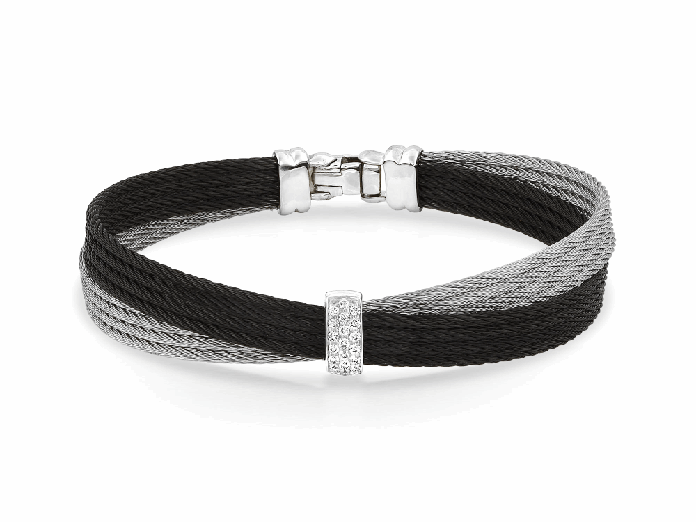 Noir Crossed Black Cable Bangle with Small Vertical Diamond Bar