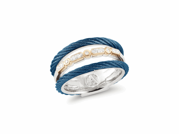 Closeup photo of Layered Blueberry Cable Ring with 18kt Yellow Gold & Diamonds – ALOR