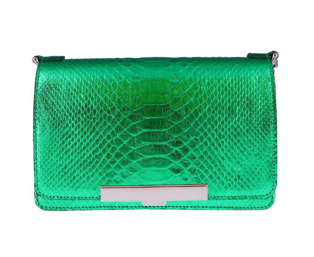 Emerald Green Python Chain Bag