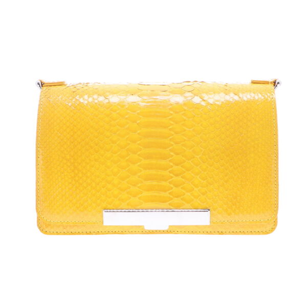 Closeup photo of Electric Yellow Python Chain Bag