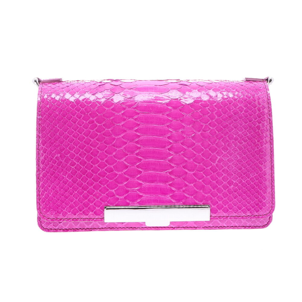 Electric Pink Python Chain Bag
