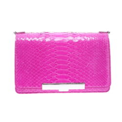Closeup photo of Electric Pink Python Chain Bag