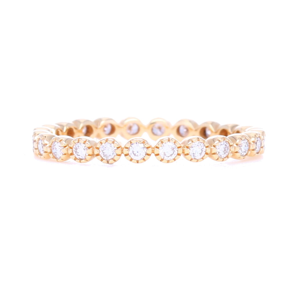 14K Yellow Gold Brilliant Cut Eternity Stack Ring