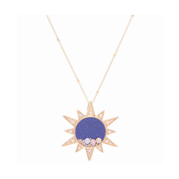 Closeup photo of 14K Yellow gold pave sun with blue sandstone center