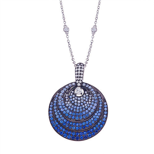 Closeup photo of 18k White gold Pave 3 layered Pendant .59 tcw dia 4ct Sapphires