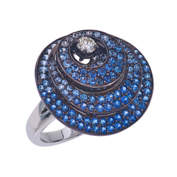 Closeup photo of 18k 3 Layered Circle Sapphire Ring With Diamonds