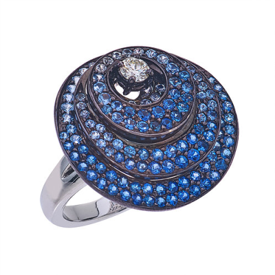 Closeup photo of 18k 3 Layered Circle Sapphire Ring With Diamonds