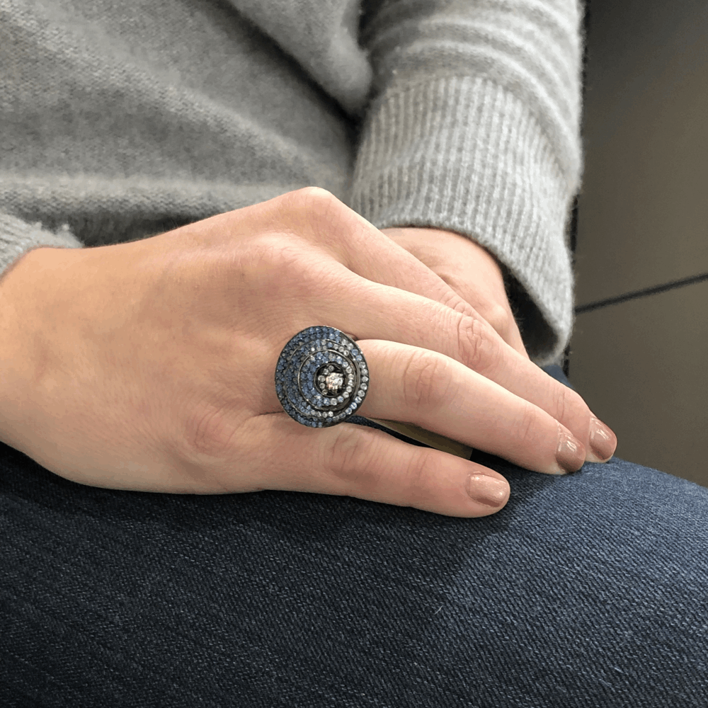 Image 2 for 18k 3 Layered Circle Sapphire Ring With Diamonds
