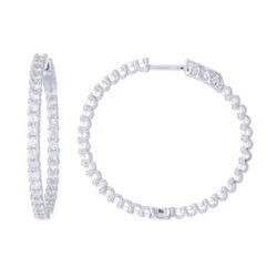 Closeup photo of Prong Set Brilliant Cut Round Diamond Inside Outside Hoop Earrings