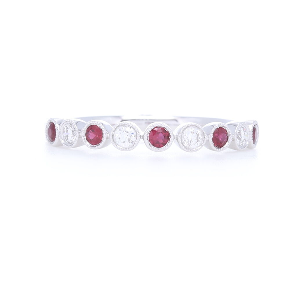 Milgrain Bezel Set Round Diamond and Sapphire Ring