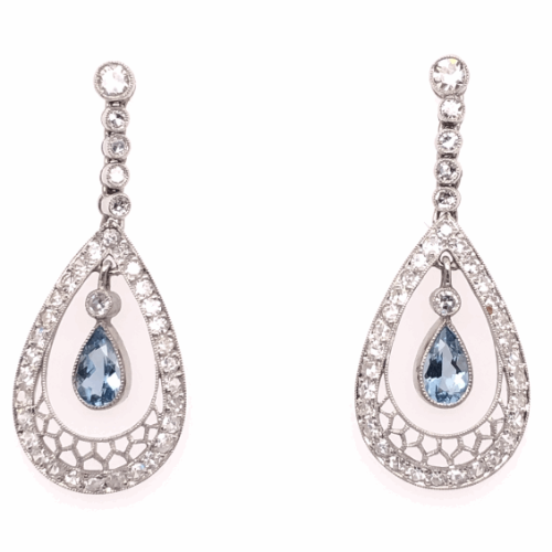 Closeup photo of Platinum Art Deco .60tcw Pear Aquamarine & 1.50tcw Diamond Earrings