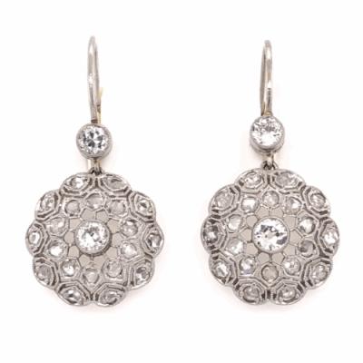 "Closeup photo of Platinum on 18K Yellow Gold Edwardian Diamond Cluster Earrings 1.29tcw 1.2"" Tall"