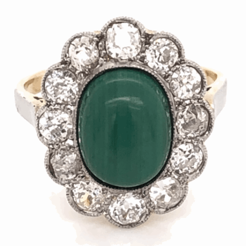 Closeup photo of Platinum on 18K Yellow Gold Edwardian Oval Malachite & 1.56tcw Diamond Ring, s4.5