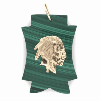 """Closeup photo of 14K Yellow Gold Indian Head on Carved Malachite Charm Pendant 11.5g 1.75"""" tall"""