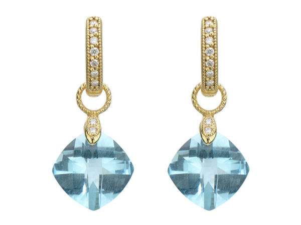 Closeup photo of  SMALL CUSHION SILHOUETTE EARRING CHARM- SKY BLUE TOPAZ