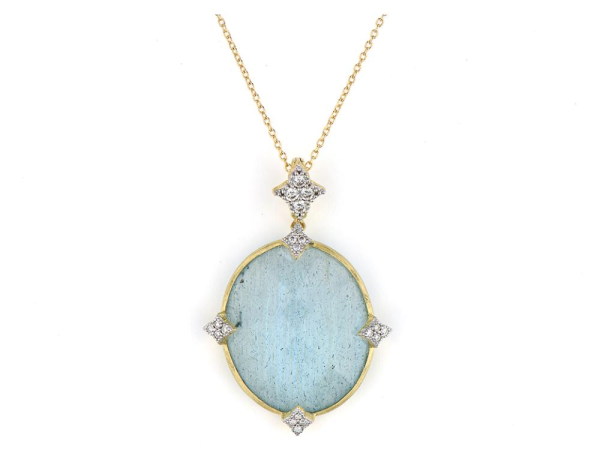Closeup photo of  OVAL STONE MOROCCAN QUAD PENDANT