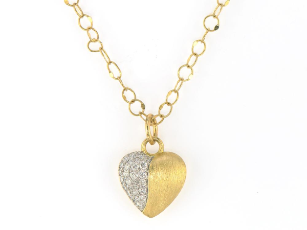 Closeup photo of  PROVENCE PAVE HEART BRUSHED PENDANT
