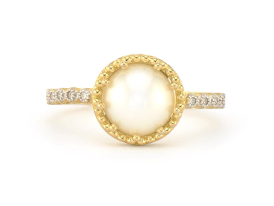 Closeup photo of  PROVENCE DELICATE PAVE TRIO PEARL RING