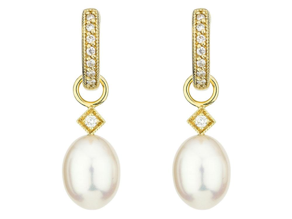Closeup photo of  WHITE PEARL BRIOLETTE EARRING CHARMS