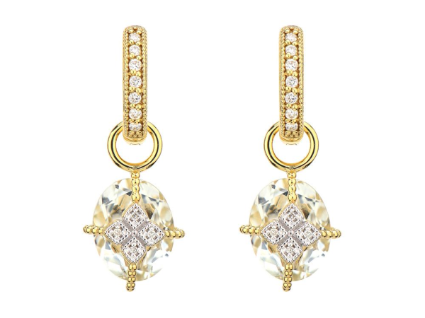 Closeup photo of Lisse Oval Stone Lacey Kite Earring Charms