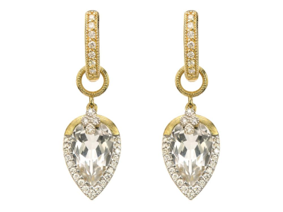 Closeup photo of  PROVENCE PAVE TEAR DROP DELICATE QUAD EARRING CHARMS