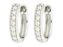 Closeup photo of  DIAMOND HUGGIE HOOP EARRINGS